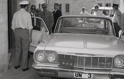 Dr. Ralph J. Bunche, former United Nations Under Secretary General for Special Political Affairs and Lieutenant General Odd Bull Head, of Mission and Chief of Staff UNTSO arriving at UNTSO HQ Jerusalem April 1964